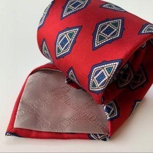 Christian Dior Monsieur Red Pattern Mens Tie